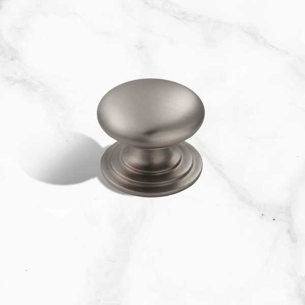 Satin Nickel Victorian Cupboard Knob - 38mm Diameter (KNB06)