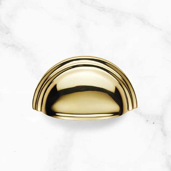 Polished Brass Cup Pull Handle - 92mm (MDP53)
