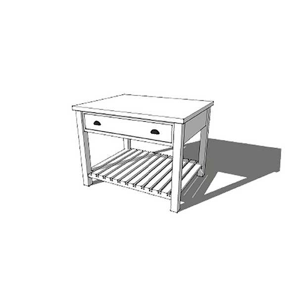 Island with 1 Drawer and Slatted Base Shelf (price excludes the table top)