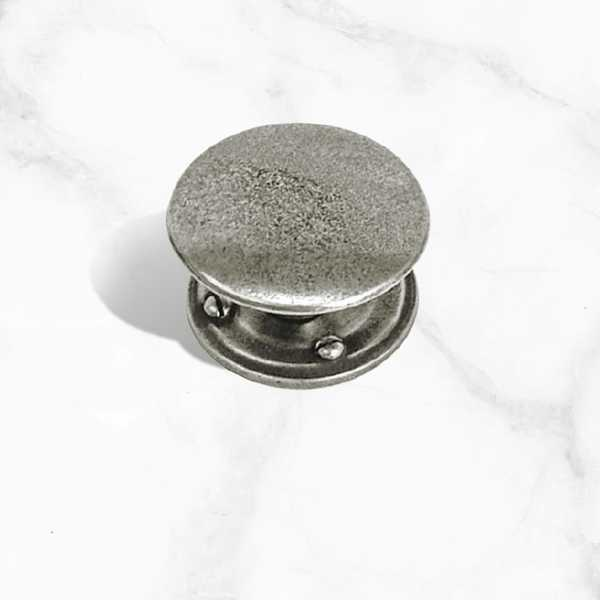 Solid Pewter Cupboard Knob with Backplate - 44mm Diameter (PCK033)